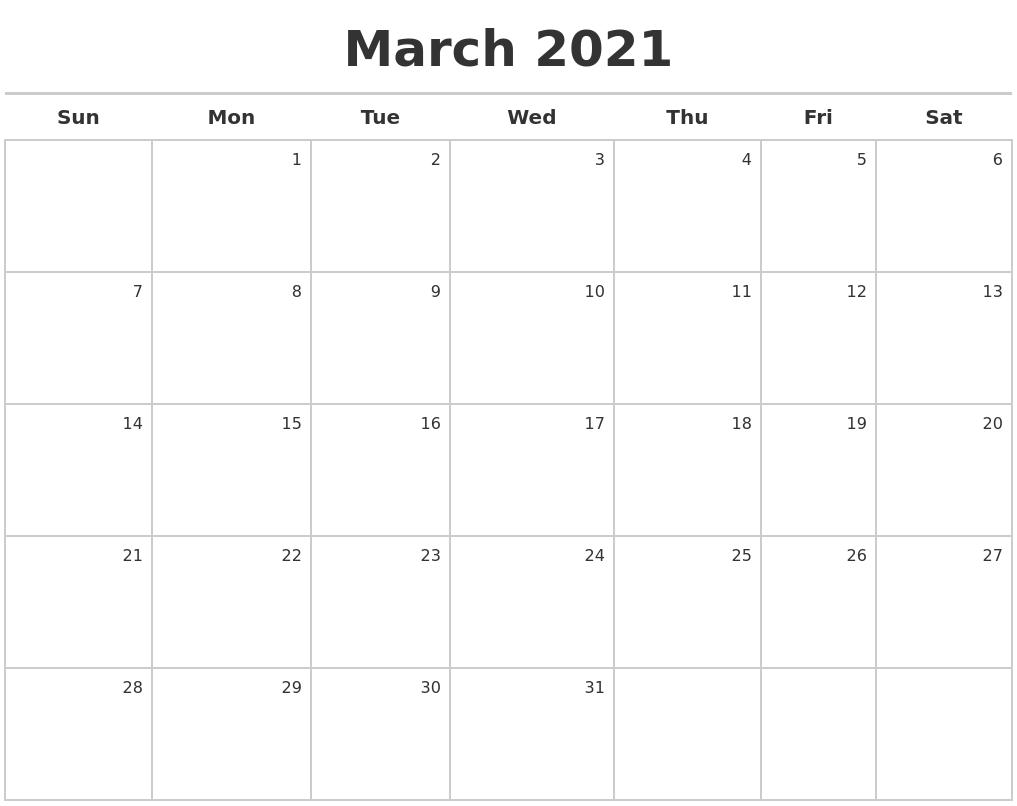 Image Result For Printable March Calendar