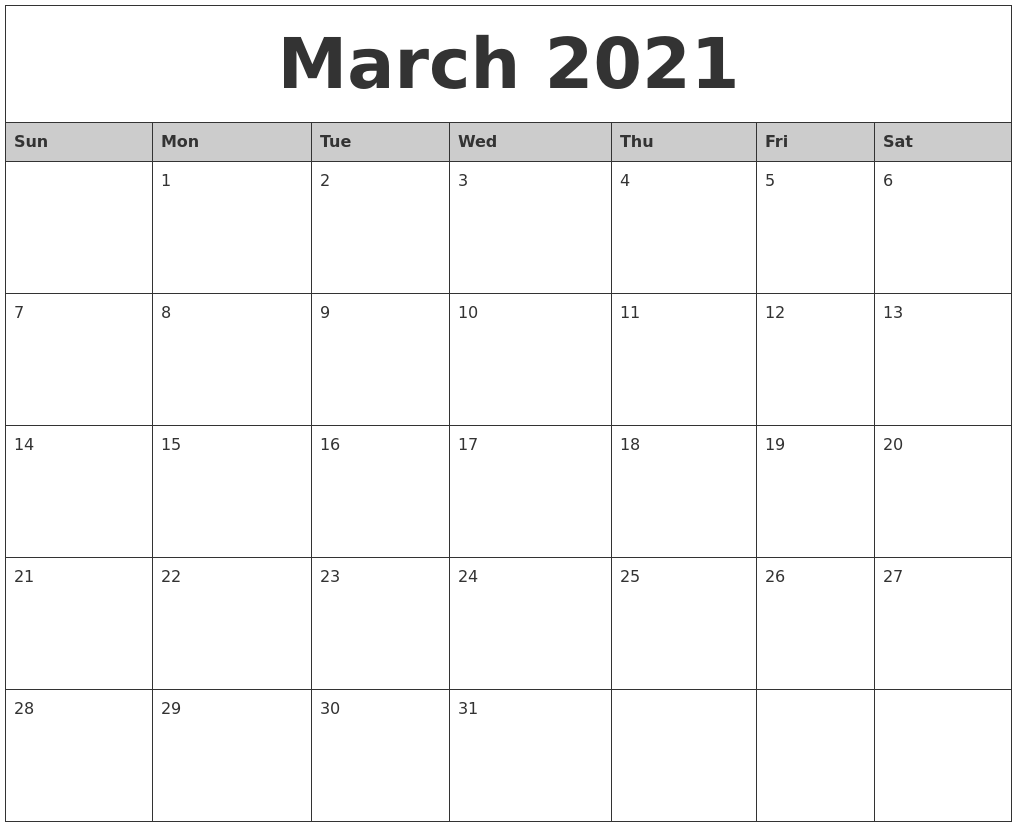 Image Result For Printable Monthly Calendar