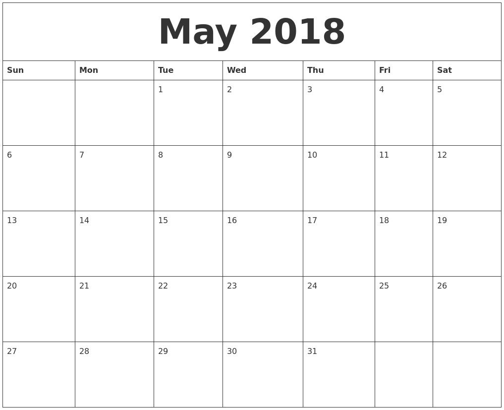 Image Result For May Free Printable Calendar