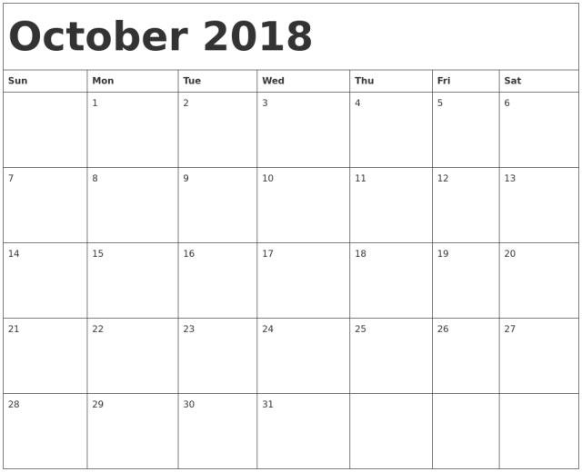 October 2018 Calendar Free Download