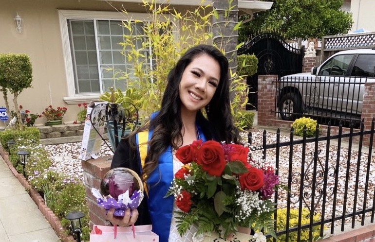 Former foster youth Diana Pham, 26, celebrates her graduation from San Jose State University in May. She completed her degree online after the school halted online classes due to the coronavirus pandemic.