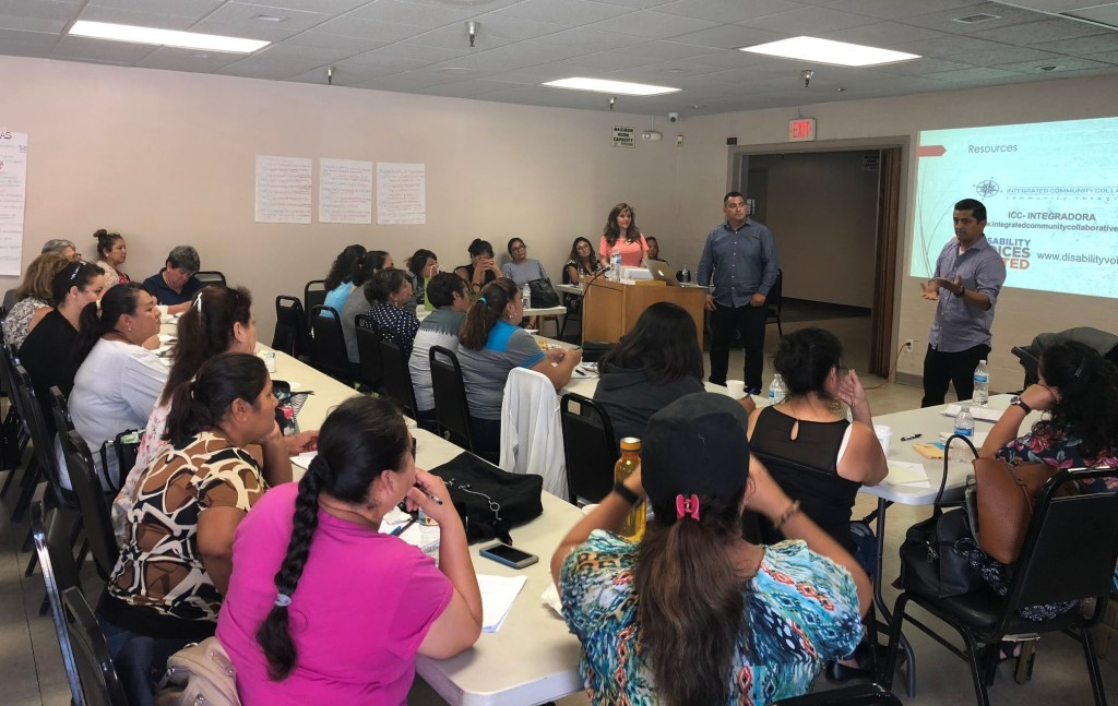 2. Parent advocates with the organization Integrated Community Collaborative speak with Latinx families during a 2018 event in Huntington Park about how to access Regional Center Services for their children. Photo courtesy of Integrated Community Collaborative.