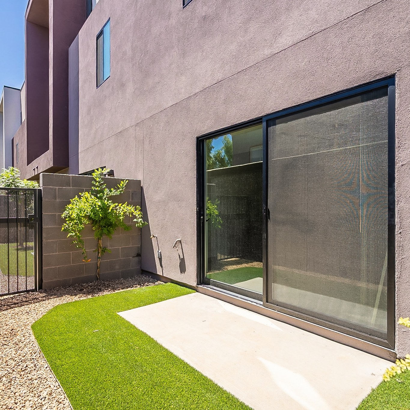 The backyard of the new The Roosevelt Tempe Townhomes