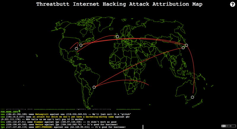 Threatbutt Internet Hacking Attack Attribution Map