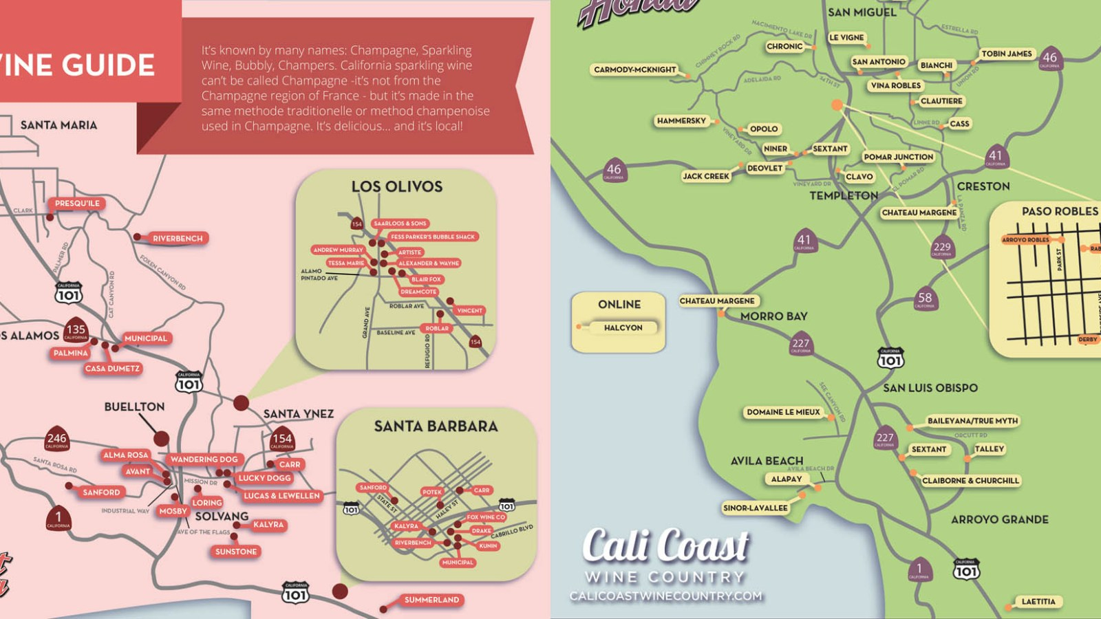 Sparkling Wine Maps of California's Central Coast