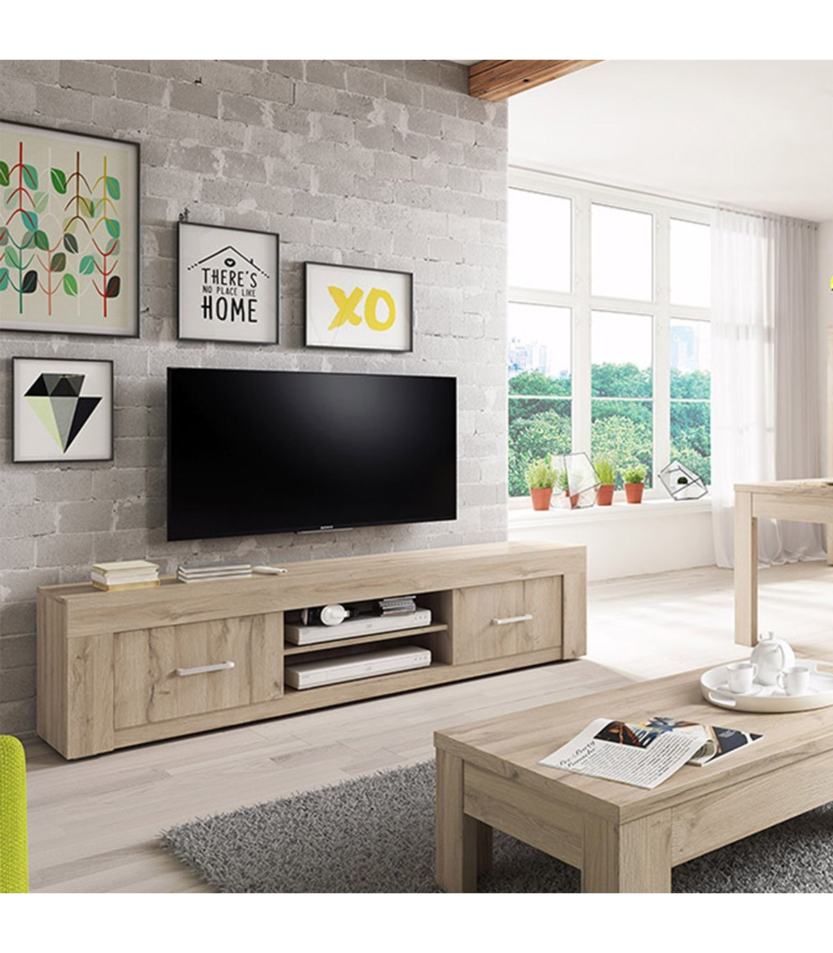 meuble tv axel chene clair grise