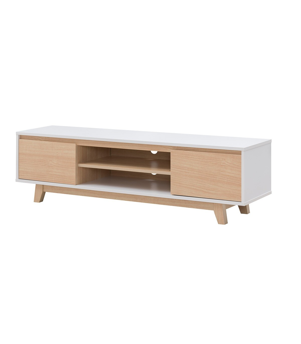 meuble tv scandinave blanc et bois erable fjord