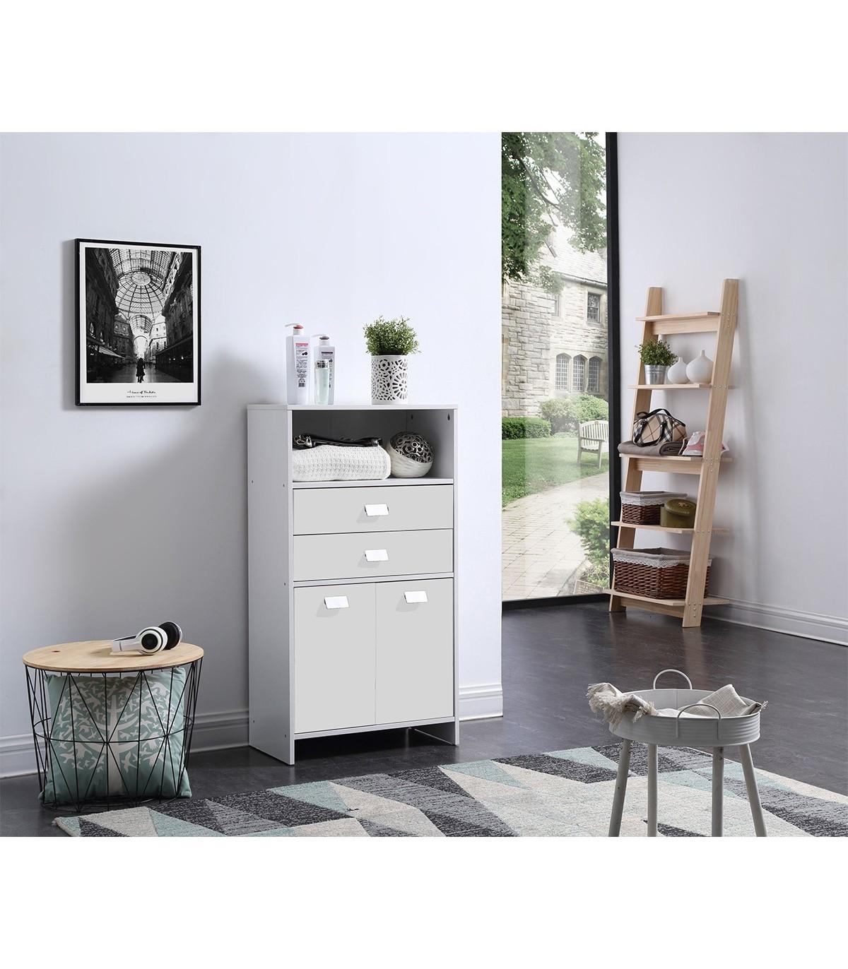 meuble de rangement salle de bain 2 tiroirs 2 portes