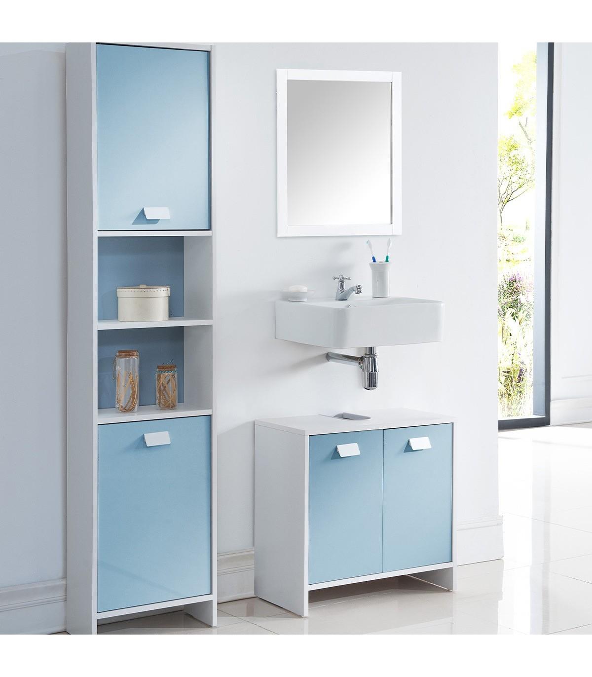meuble sous vasque salle de bain bleu