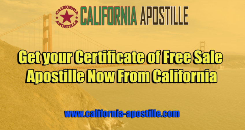 California Certificate of Free Sale Apostille