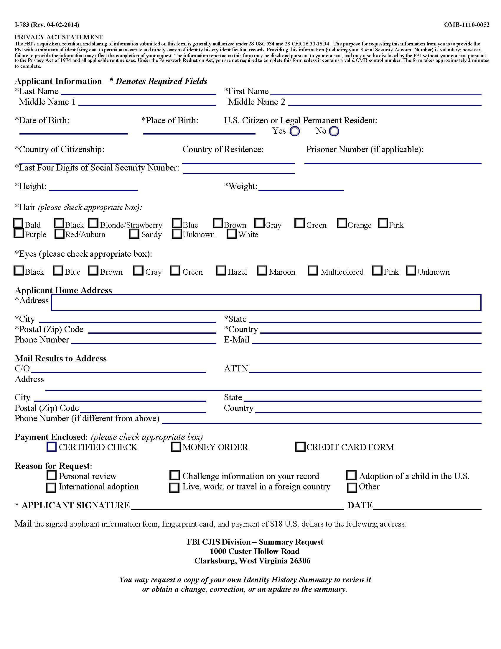 How to get fbi background check apostille step 1 application information form falaconquin