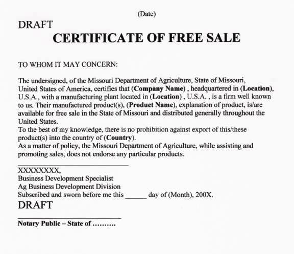 certificate of free sale template koni polycode co