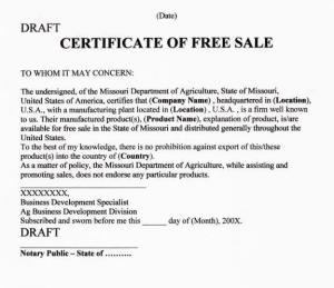 free sale certificate