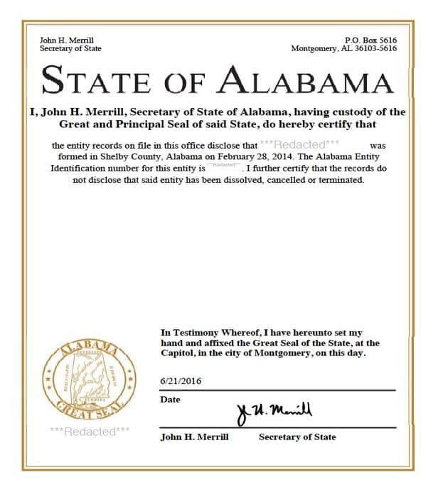 Apostille Cover Letter Sample: Certificate Of Incorporation- Alabama