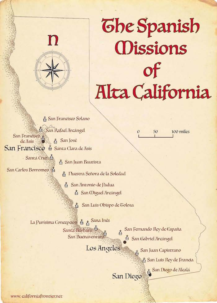 California Missions Map | The California Frontier Project on map of newark california, physical geography of california, california state map of california, mapa california, state road map of california, map nw california, google maps california, map of georgetown california, physical map north california, san jose california, us map of california,