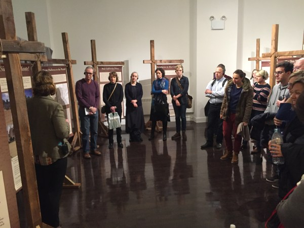 Visitors tour the Junípero Serra Exhibit at the New York Encounter.