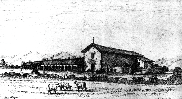 An etching of Mission San Miguel in the 19th century by H.C. Ford.