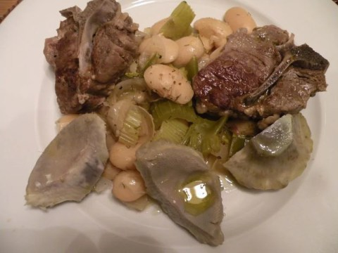 Lamb stew with artichokes and gigante beans