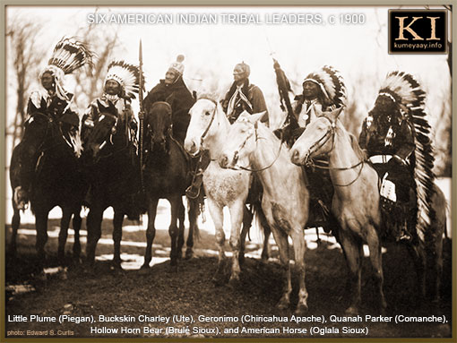 SIX FAMOUS NATIVE AMERICAN INDIAN CHIEFS IN HEADDRESS AND ON HORSEBACK