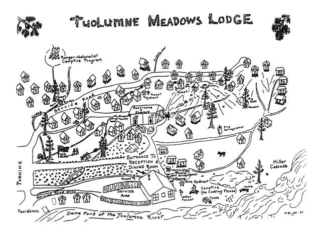 Map of Tuolumne Meadows Lodge. You'll definitely need this, especially on your first visit!