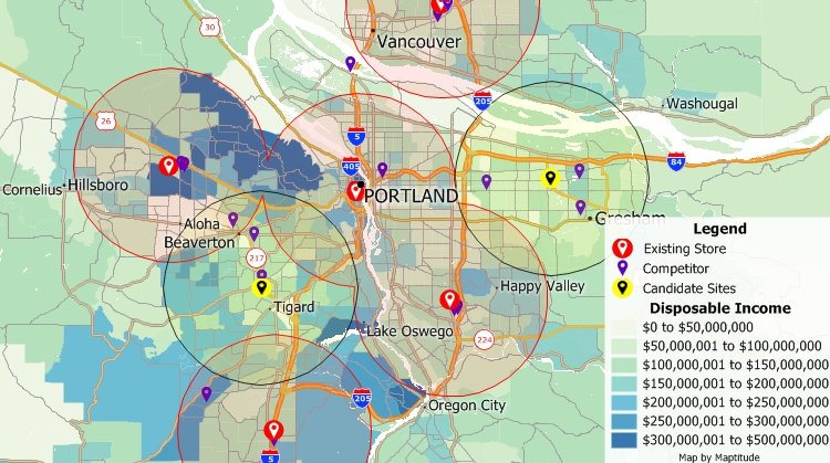 Retail Site Selection Mapping Software   Site Selection Analysis Maptitude map showing GIS retail site selection process to assess  competitive retail  accessibility  and