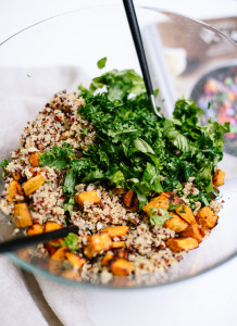 Source:http://cookieandkate.com/2015/quinoa-salad-recipe-with-roasted-sweet-potato-kale/