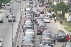 The long queue of vehicles on Marian during the protest
