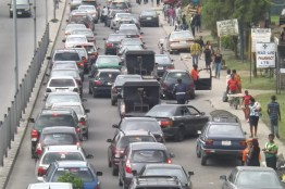The queue of vehicles