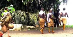 Ekoi drummers making their way to the shrine