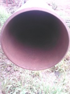 A paint coated pipe on site