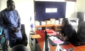 Effiom Okon leader of the Forum addressing Odey, SUBEB Chairman