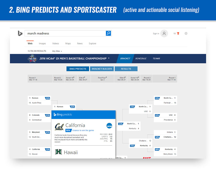 #2 Bing Predicts and Sportscaster (active and actionable social listening)