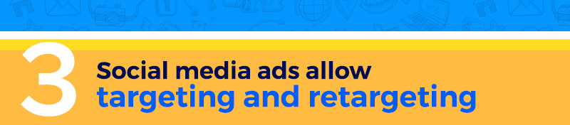 Social media ads allow targeting and retargeting