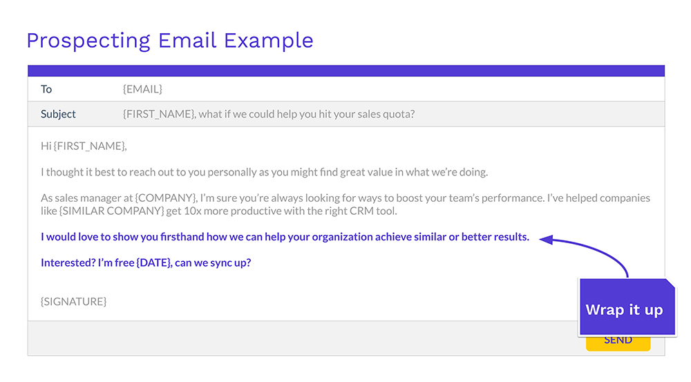 photo of email copy highlighting the CTA