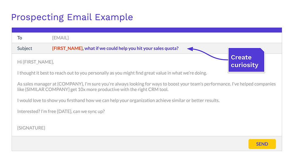 Photo of email copy with emphasis on the subject line