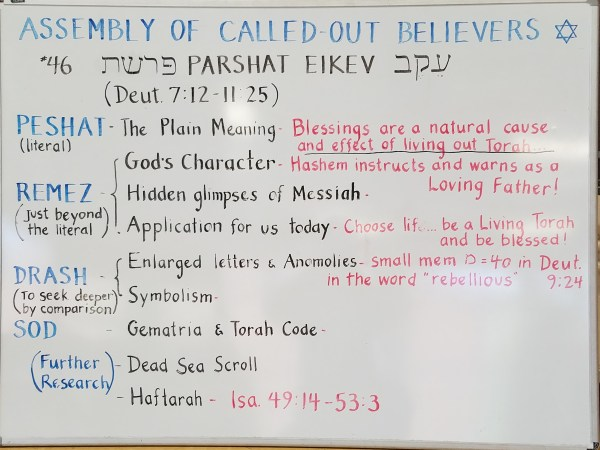 Eikev whiteboard by Pastor Isaac