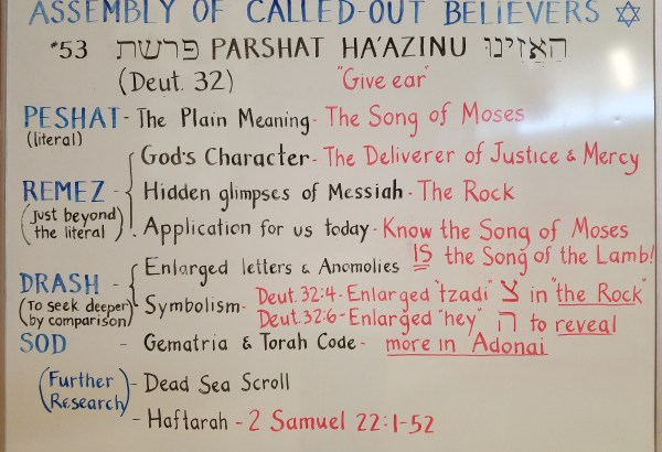 Ha'azinu whiteboard by Isaac