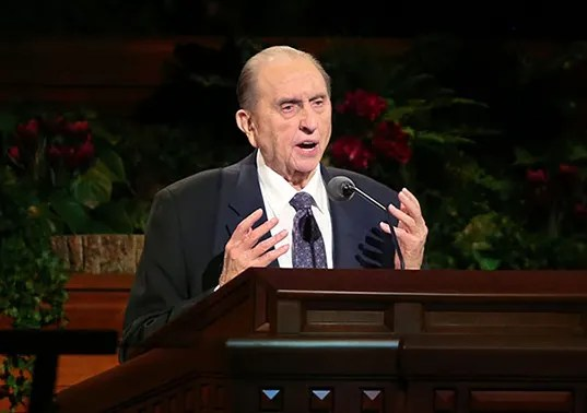 Child Sees Angels Bear President Monson Up at General Conference