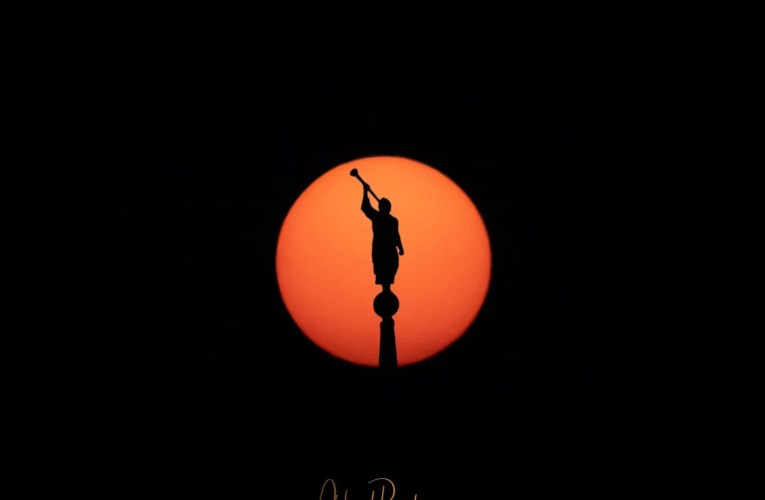 Shot of Angel Moroni Atop The Ogden Temple Through The Smoke of the Setting Sun That You'll Have to See to Believe