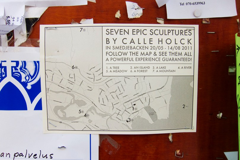 7 epic sculptures - the map of the culptures put up on a pinboard