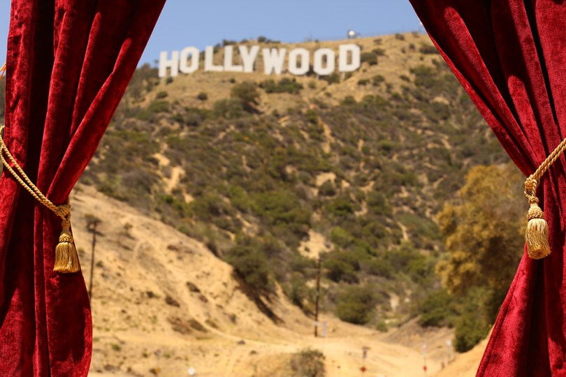 A drop curtain (like one from a theater stage) detached from the stage. Here you can see the Hollywood sign when looking through it.