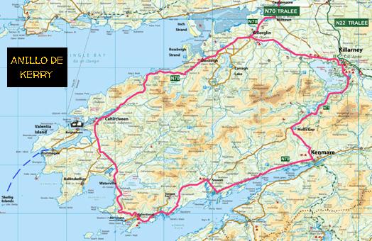 Anillo De Kerry Mapa.Guia De Viaje De Irlanda Killarney Cork Glendalough
