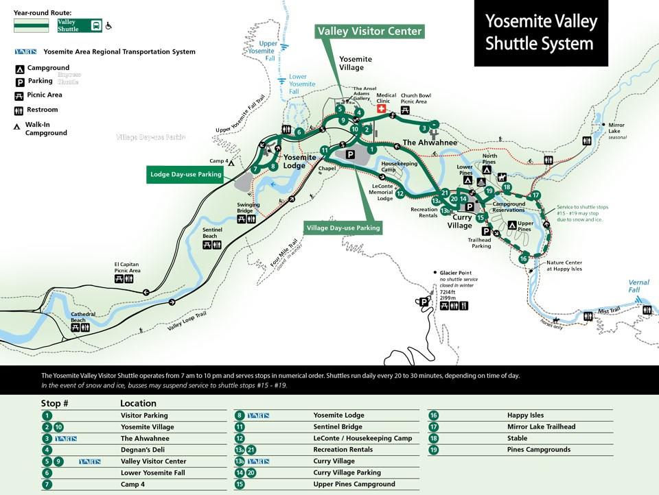 Mapa de transportes en Yosemite sacado de la página https://www.nps.gov/yose/espanol/index.htm