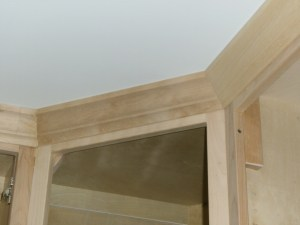 Closeup of the crown molding