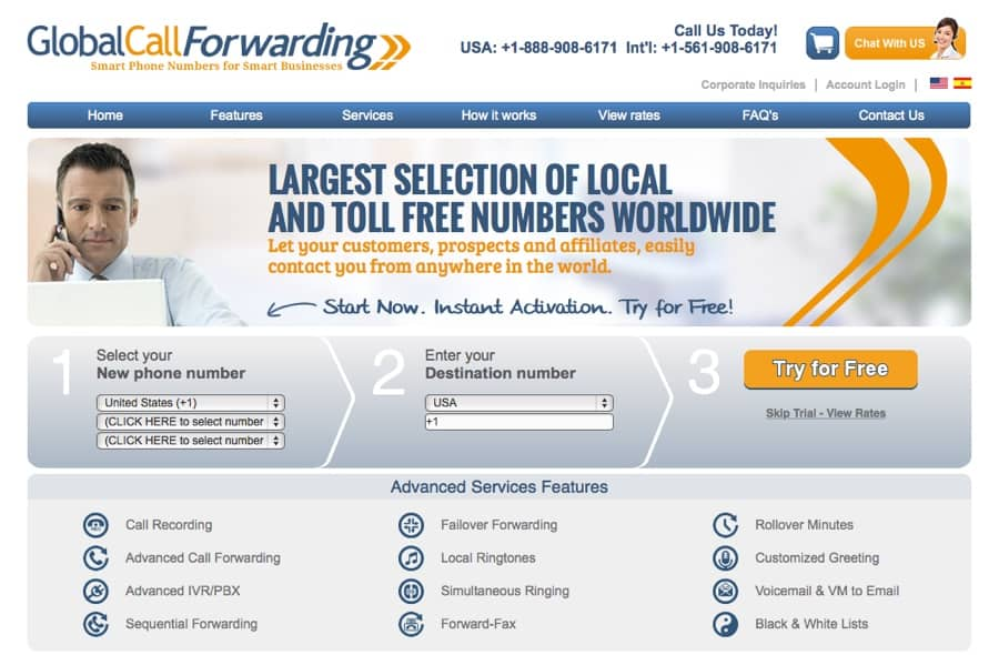 GlobalCallForwarding.com Home Page