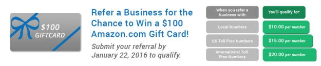 Refer a Business and Qualify to Win a $100 USD Amazon.com Gift Card