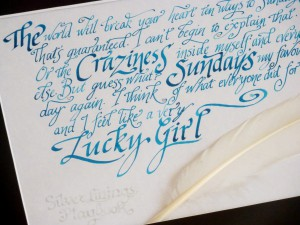 Calligraphy Commissions Photo Gallery