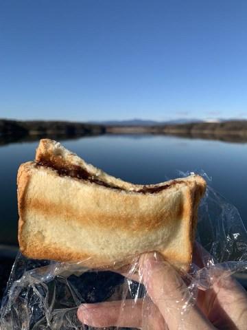 多摩湖であんこトースト