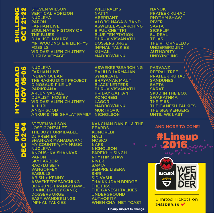 BACARDI NH7 Weekender 2016 Lineup 3 Cities