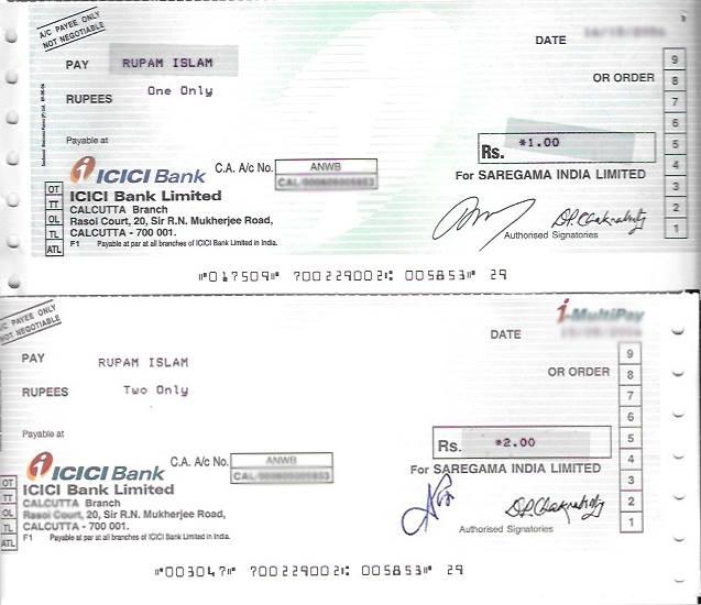Rupam Islam cheque